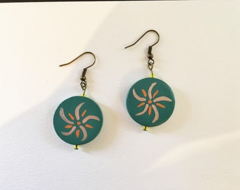 Hand painted green earrings
