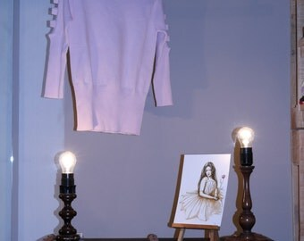 90s Undershirts true vintage cut out pink S M sweater preppy retro Barbie retro