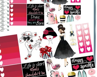 Planner Stickers, GLAM GIRL PLANNER Stickers, Happy Planner Stickers, Printable Stickers, Fashion Girl Sticker