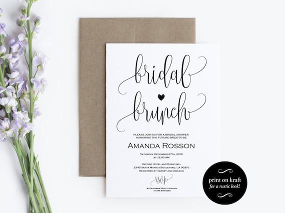 Printable Bridal Brunch Invitation - Bridal Shower Template - Kraft Paper Bridal Brunch Invite - PDF Instant DOWNLOAD and editable #WDH0080