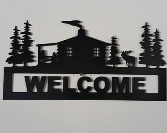 Cabin Scene Welcome Metal Art Sign, Welcome Sign, Cabin Metal Art, home decor, wall decor, mountain decor, cabin art