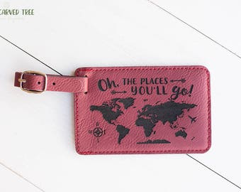 Oh, The Places You'll Go Luggage Tag, World Map Travel Accessories, Cute Gift Idea, Foreign Exhchange, Graduation Gift, Study Abroad LT5
