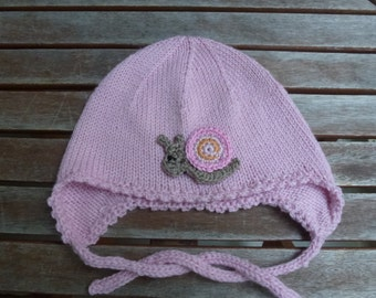 Baby Hat earflap hat made of Merino Wool to KU approx 46 cm
