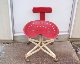 Red Tractor Seat Chair w/Back on 4 Casters ... Re-purposed Vintage Tractor Seat ... Industrial .. Farm ... Workshop ... Office