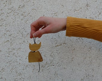 Wooden cat Keychain, handmade unisex thought gift