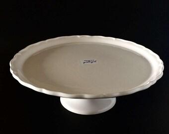 White Ceramic Cake Stand (13.25 inches wide)