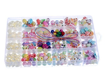 1Box Colorful Acrylic Beads For Jewelry Making Cords Kit Set Intelligence Children DIY Necklaces Bracelets