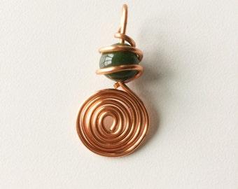 Copper Swirl w/ Green Bead