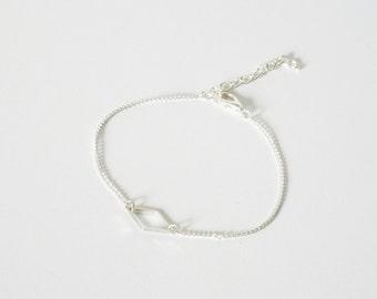 Silver BRACELET MINIMALIST diamond hand made