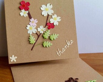 A square Kraft thank you card, handmade, handcrafted, embellished.
