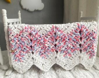 READY TO SHIP ~ Crochet Baby Blanket ~ Baby Girl ~ Crib Blanket ~ White, Blue & Pink ~ Chenille Blanket ~ Baby Shower ~ Crochet Blanket