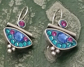 Blue Crystal Earrings, Turquoise Silver Earrings, Dangle Silver Earrings, Crystal Earrings, Sterling Silver Earrings, Blue Silver Earrings