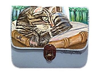 """shoulder bag with painted of our animal friends, customizable, just send the puppy photos, collection """"Fauna"""","""