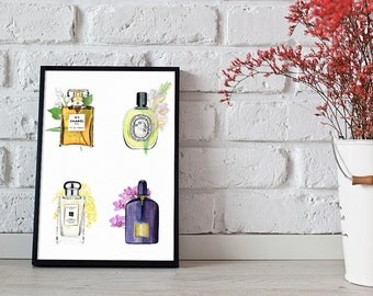 perfume illustration, Chanel wall art, perfume bottle print - 3 sizes available Giclee print