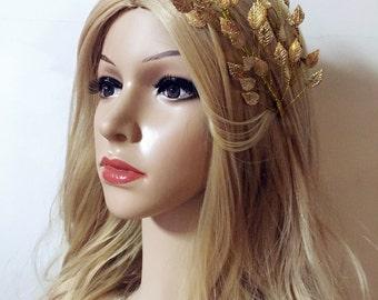 Tiara Headpiece, Wedding Headpiece, Bridal Headband, Golden Leaves Tiara, Gold Headband, Leaf Wedding Tiara, Leaf Headpiece, Leaf Headband