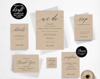 Rustic Wedding Invitation Template, We Do Wedding Invitation Printable, Vintage Invitation, Cheap Invitation, DIY PDF Instant Download #E016