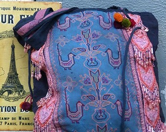 Hmong Embroidery Large Carry Bag Hill Tribe textile handmade