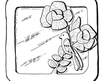 """Spring Time Mirror #503-mp Woodworking / Craft Pattern   9"""" x 10"""""""