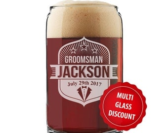 Personalized Beer Glass Can, Beer Can Glasses, Groomsmen Beer Gifts, Groomsman Beer Glass, Engraved Beer Glasses Can, Monogrammed Beer Glass