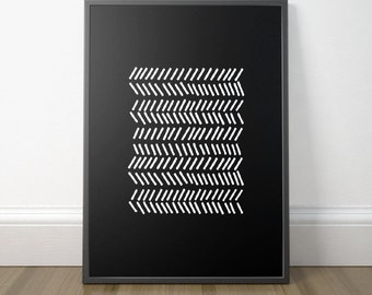 Gallery Wall Decor, Modern Tribal Art, Modern Black and White Print, Minimalist Art Print, Scandinavian Art, Instant Download, Digital Print