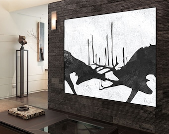 Large abstract Painting on canvas, deer painting, Original Painting, Canvas Painting, handmade Abstract Canvas Art, Black and White wall art
