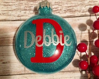 Glitter Ornament - Personalized with Name and Initial