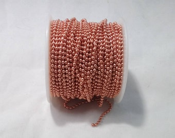 2.4mm Solid Copper Ball Chain 100' (50 Free Connectors)