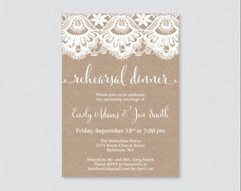 Printable OR Printed Rehearsal Dinner Invitations - Burlap and Lace Rehearsal Dinner Invites, Rustic Wedding Rehearsal Invitations 0002