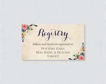 Wedding registry etsy printable or printed wedding registry cards floral wedding registry invitation inserts colorful flower registry junglespirit Image collections