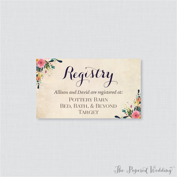 Gift registry inserts for wedding invitations