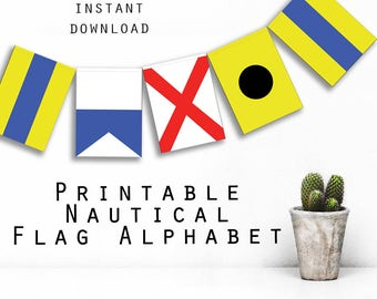 Printable Nautical Flags Alphabet. Instant digital download. For you to print and hang as banner, bunting, garland, framed initials etc.