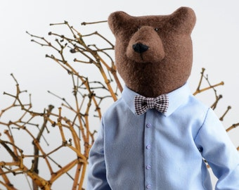 Felt Bear , Stuffed animals in Clothes, Unique gift , Grizlly bear art decor,  nerd gift , textile animal, collectible soft sculpture