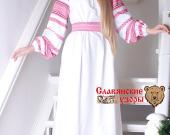 "Traditional  dress ""Spring Tide"", Slavic dress, linen dress, pregnant dress, floor lenght dress, long sleeve dress"