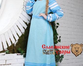 "Traditional Dress ""Tenderness"", Slavic dress, linen dress, pregnant dress, floor lenght dress, long sleeve dress"