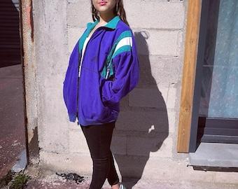 90s Vintage Velvet  Sports Zip Jacket