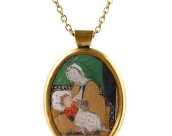 Handmade Pendant Necklace, Mother and Child, Persian