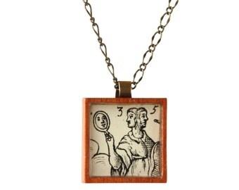Handmade Pendant Necklace, 17th Century Woodcut, Jewelry