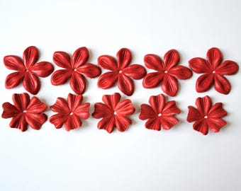 leather flowers set of 10 pcs