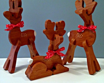 Small Wooden Reindeer - Three Piece Set