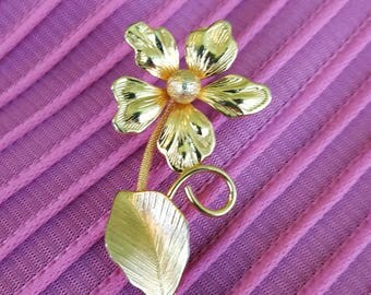 Gold Filled Flower Pin Brooch Mid-century Cute
