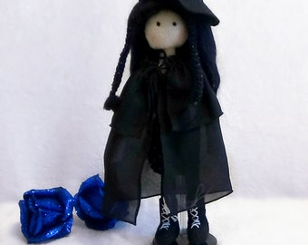 Little witch in black dress.Gorjuss doll