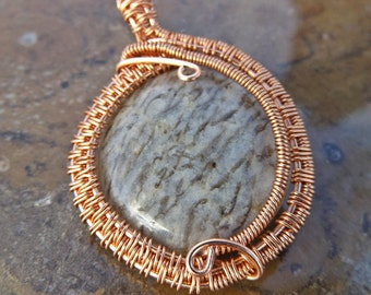 Graphic Feldspar Copper Wire Pendant