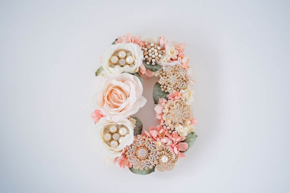 Floral Letter, Silk Flower Letter, Nursery Wall Decor, Baby Shower Gift, Wall Art, Brooch Bouquet, Vintage Decor, Shabby Chic Decor