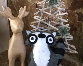 Handcrafted Felt stuffed animal and decor - Roco Raccoon