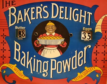 Vintage Baker's Delight Baking Powder Cardboard Butter and Eggs Price Sign, Vintage Black Americana Advertising