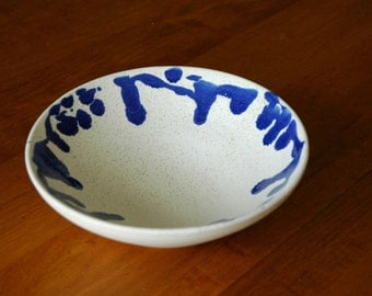 White and Blue Ceramic Bowl // Pottery Bowl // Modern Kitchen Bowl