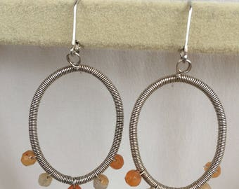 Sterling Silver and Carnelian Wire Wrapped Oval Earrings