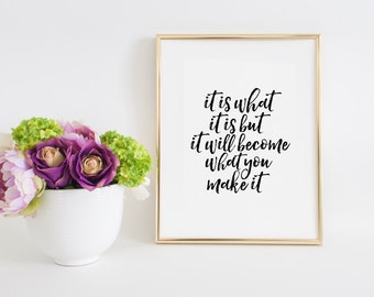 Inspirational Quote It is what it is Printable Art Positive Vibes Good Vibes Only College dorm decor Dorm Room Graduation Gift Art Print