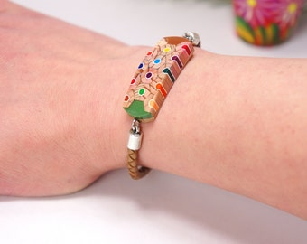 Bracelet from colored pencils, Jewelry from pencils, Handmade jewelry, Bracelets, Pencil art, Colored pencils, Leather Bracelet