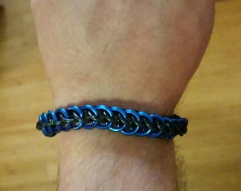 Blue/Black Half-Persian 3in1 Chainmaille Bracelet